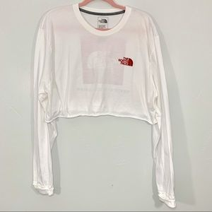 The North Face | White Long Sleeve Logo Crop Top